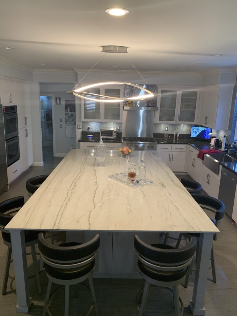 completed kitchen counters and tile