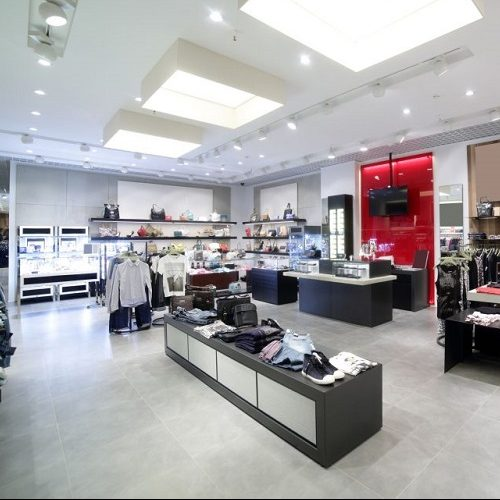 A Picture of the Interior of a Brand New Clothing Store.