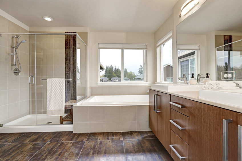 A Picture of a White Modern Bathroom Interior.