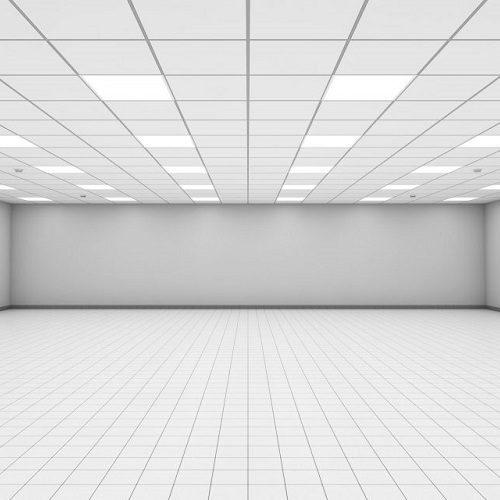 A Picture of a Wide Empty Office Room Interior with White Walls.